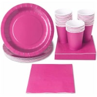 Hot Pink Party Supplies, Paper Plates, Cups, and Napkins (Serves 24, 72 Pieces) - PACK