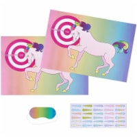Pin the Horn on the Unicorn Birthday Party Game with 2 Posters, 30 Stickers, and 1 Blindfold - PACK