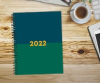 Navy and Green 2022 6.5  x 8.5  Softcover Weekly Planner - 1