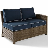 Bradenton Outdoor Wicker Sectional Right Loveseat with Navy Cushions - Crosley - 1
