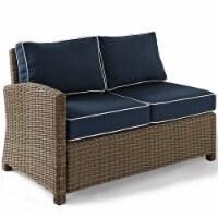 Bradenton Wicker Sectional Loveseat with Navy Cushions - Crosley