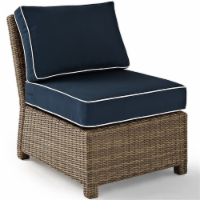 Bradenton Outdoor Wicker Sectional Center Chair with Navy Cushions - Crosley