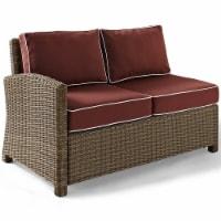 Bradenton Wicker Sectional Loveseat with Sangria Cushions - Crosley
