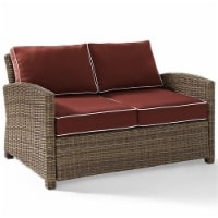 Bradenton Outdoor Wicker Loveseat with Sangria Cushions - Crosley - 1