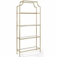 Aimee Metal Glass Bookcase in Antique Gold-Crosley - 1