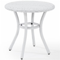 Palm Harbor Outdoor Wicker Round End Table in White - Crosley