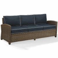 Crosley Bradenton Wicker Patio Sofa in Brown and Navy - 1