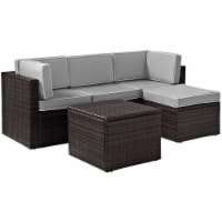 Crosley KO70011BR-GY Palm Harbor 5-Piece Outdoor Wicker Sectional Seating Set with Grey Cushi
