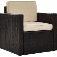 Palm Harbor Wicker Patio Arm Chair with Sand Cushions - Crosley - 1