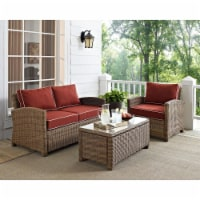Crosley KO70165-SG 3 Piece Bradenton Outdoor Loveseat Wicker Seating Set with Sangria Cushion