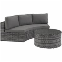 Crosley Catalina 2 Piece Wicker Curved Patio Sectional Set in Gray - 1