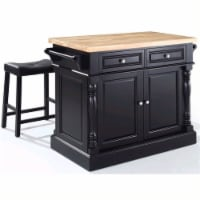Oxford Butcher Block Top Kitchen Island with Stools in Black - Crosley - 1