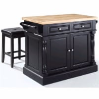 """Butcher Block Top Kitchen Island In Black With 24"""" Black Upholstered Square Seat Stools"""