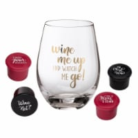Lillian Rose G135 WM Wine Largeover Wine Glass with Wine Me Up Saying & 4 Wine Bottle Stopper