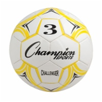 Champion Sports CH3YL Challenger Series Soccer Ball, Yellow & White - Size 3