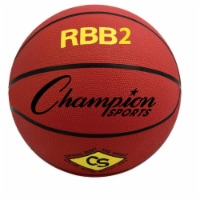 Champion Sports RBB2RD 27.5 in. Pro Rubber Basketball, Red - 1