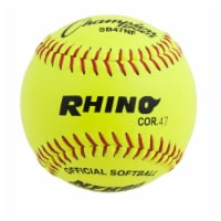 Champion Sports SB47NF 12 in. Leather Cover Poly Softball, Optic Yellow & Red