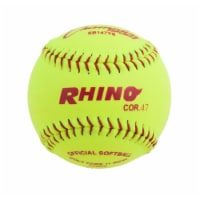 Champion Sports SB147YS 11 in. Synthetic Leather Cover Softball, Optic Yellow & Red
