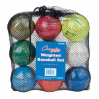 Champion Sports BBWTSET 9 in. Weighted Training Baseball Set, Assorted colors - Set of 9 - 9