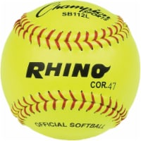 Champion Sports SB112L 12 in. Leather Cover Cork Softball, Optic Yellow & Red