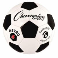 Champion Sports RETRO4 Retro Soccer Ball, Black & White - Size 4