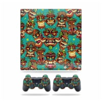 MightySkins PS3SLIM-Crazy Tikis Skin for Sony Playstation 3 PS3 Slim Plus 2 Controllers - Cra - 1
