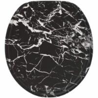 Sanilo 251 Round Soft Close Molded Wood Adjustable Toilet Seat, Marble Black - 1 Piece