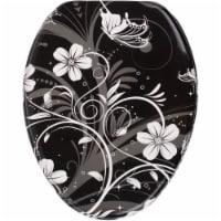 Sanilo 139 Elongated Soft Close Molded Wood Adjustable Toilet Seat, White Flower - 1 Piece