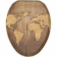 Sanilo 170 Elongated Soft Close Molded Wood Adjustable Toilet Seat, World Map - 1 Piece