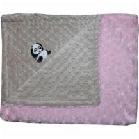 Lil Cub Hub 3BSMPR-M Panda Minky Blanket - Mocha Dot with Pink Rosebud Swirl
