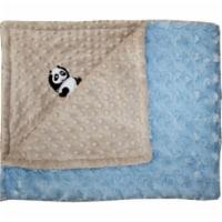 Lil Cub Hub 3BSMBR-M Panda Minky Blanket - Mocha Dot with Blue Rosebud Swirl
