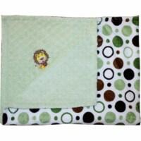 Lil Cub Hub 1BPGCGD-M Lion Minky Blanket - Green & Brown Circle Print with Sage Dot - 1
