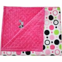 Lil Cub Hub 2BPHCHP-M Raccoon Minky Blanket - Hot Pink Circle Print with Hot Pink Dot - 1