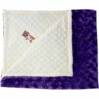 Lil Cub Hub 5BSYDPR- M Girl Bear Minky Blanket - Yellow Dot with Purple Rosebud Swirl