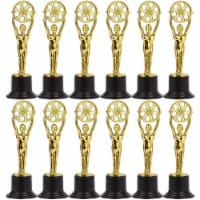 Mini Trophies for Film Party and Teachers, Gold Plastic Awards (12 Pack) - PACK