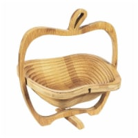 Juvale Apple Design Collapsible Bamboo Fruit Bowl - Fruit Basket, Brown, 10.5 x 11.7 x 8.7 - Pack