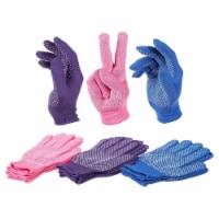 6 Pairs Women's Polyester Work Gloves Knit Garden Gloves, Purple, Pink, Blue
