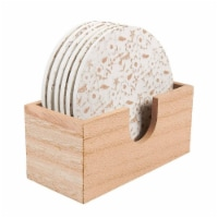 Juvale 6 Pack Round Wood Coasters with Holder, White Floral Design, 3.8 Inches Diameter - Pack
