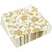 Gold Floral Paper Napkins for Anniversary Party (6.5 x 6.5 In, White, 100 Pack) - PACK