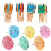 200-Pack Tropical Hawaiian Party Paper Cocktail Umbrella Parasols, Assorted Colors, 4 Inches