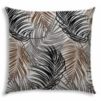 Joita Plume Polyester Jumbo Outdoor Zippered Pillow Cover in Brown/Black - 1