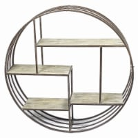 Round Metal Wall Shelf With Wooden Shelves, Brown
