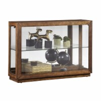 Home Fare Side Entry Lighted Display Cabinet in Warm Poplar Brown - 1