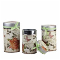 Northlight 7.5 x 8.5 x 9.5 in. Vintage Spring Rose & Butterfly Stackable Metal Canisters