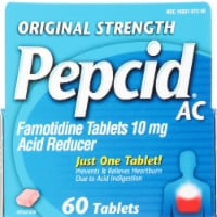 Pepcid AC Original Strength Famotidine Acid Reducer Tablets 10mg - 60 ct