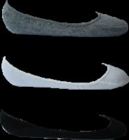 Legale Women's Vamp Liner Socks - 3 Pack - Gray/White/Black