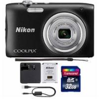 Nikon Coolpix A100 20.1mp Digital Camera 5x Optical Zoom Black With 32gb Accessory Kit - 1