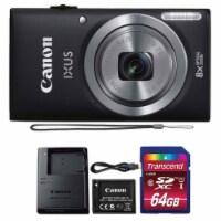 Canon Ixus 185 / Elph 180 20mp Black Digital Camera + 64gb Memory Card - 1