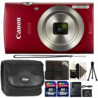 Canon Ixus 185 / Elph 180 20mp Digital Camera Red With Flexible Tripod - 1