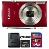 Canon Ixus 185 / Elph 180 20mp Digital Camera Red With 8gb Memory Card And Flexible Tripod - 1